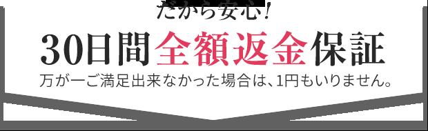 30日間全額返金保証:万が一ご満足出来なかった場合は、1円もいりません。